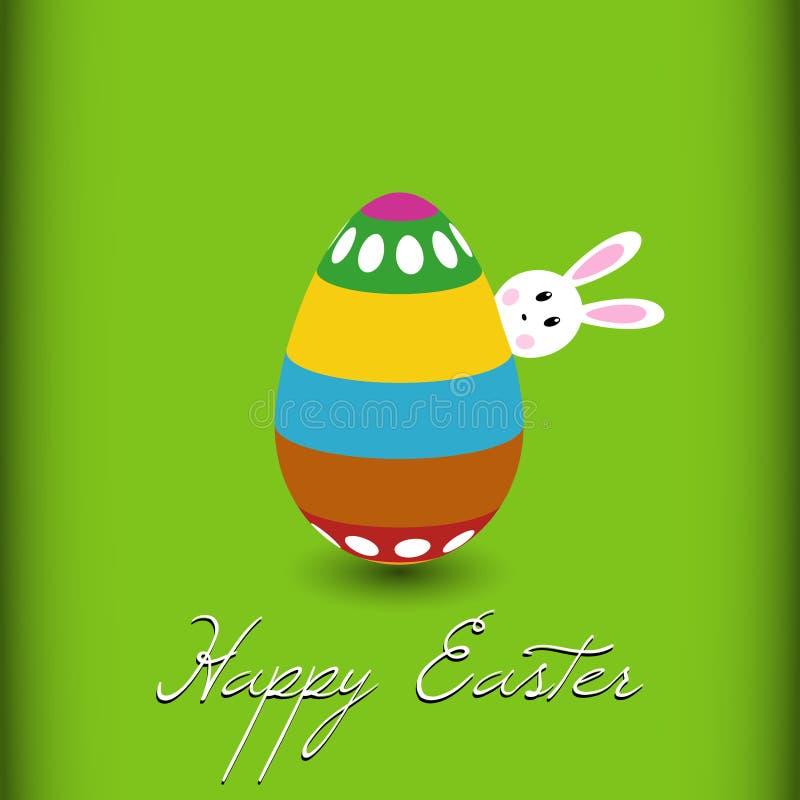 Weißes Ostern-Kaninchen versteckt hinter Ei auf grünem Hintergrund, Ostern-Designillustration, lustiges Karikaturostern-Zeitthema lizenzfreie abbildung