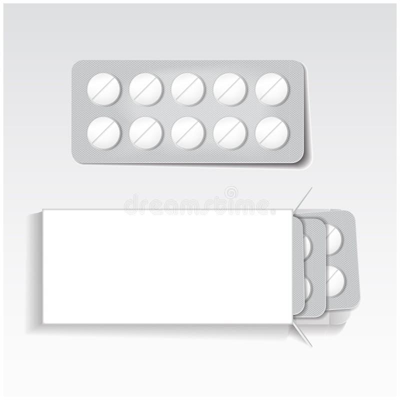 Weißes Paket mit Tabletten, Blasensatzmedizin verspotten herauf Vektorschablone Schmerzmittel, Antibiotika, Vitamine, aspirin lizenzfreie abbildung