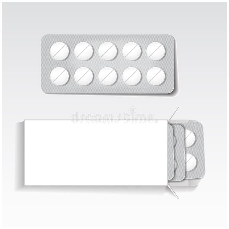 Weißes Paket mit Tabletten, Blasensatzmedizin verspotten herauf Vektorschablone Schmerzmittel, Antibiotika, Vitamine, aspirin vektor abbildung