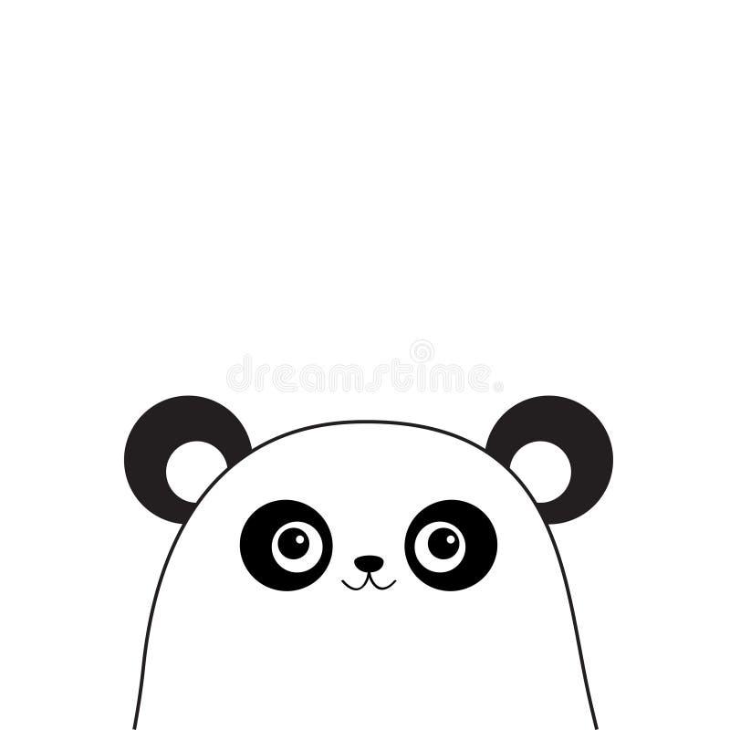 Weißes Pandagesicht Schwarzes Konturnschattenbild Kawaii-Tier Netter Karikaturbärncharakter Lustiges Baby mit Augen, Schnurrbärte lizenzfreie abbildung