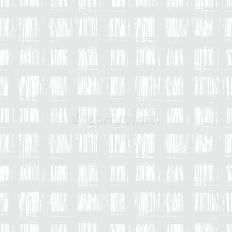 Weißes Plaidmuster mit Hand gezeichneten Streifen vektor abbildung