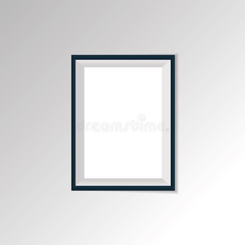 Weißes Plakatleeres papier mit schwarzem Rahmen lizenzfreie abbildung