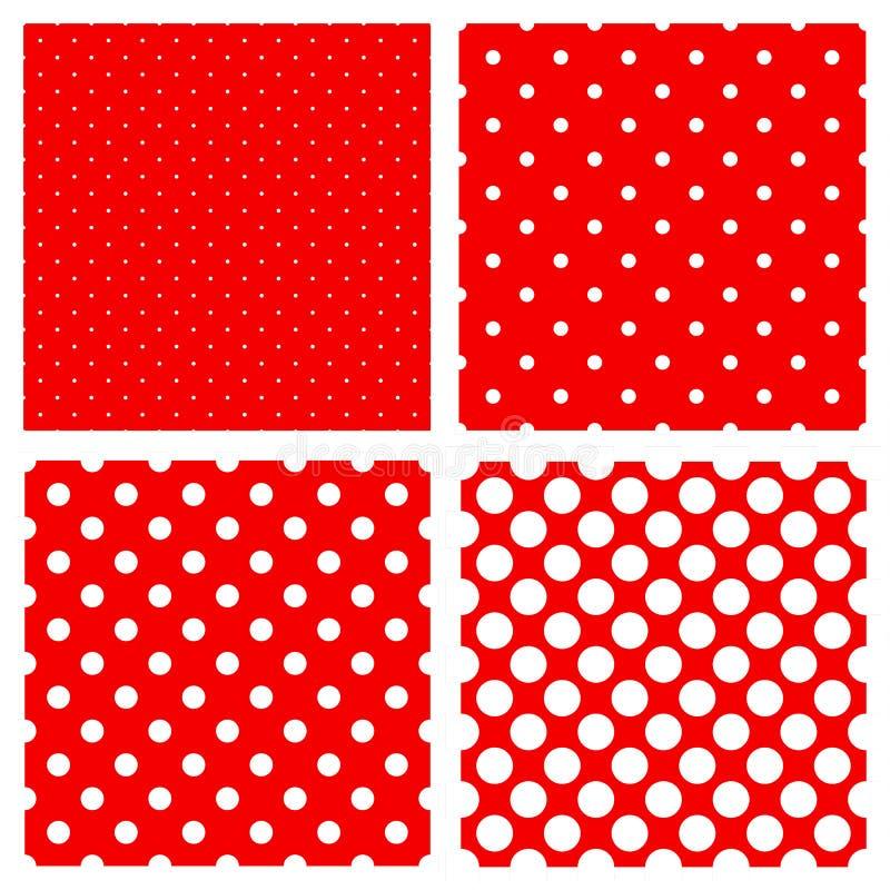 Weißes Polkapunktmuster auf Rot vektor abbildung