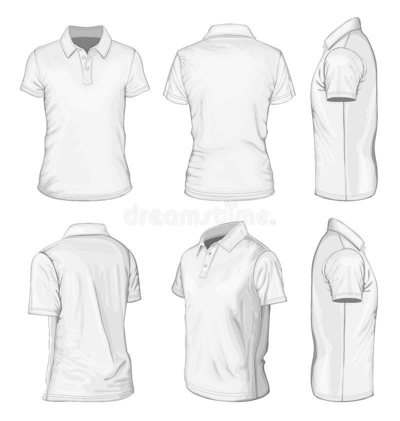 Weißes Polohemd des kurzen Ärmels der Männer lizenzfreie abbildung