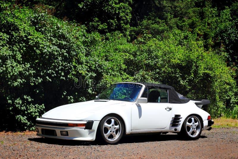 Weißes Porsche-Kabriolett stockbilder