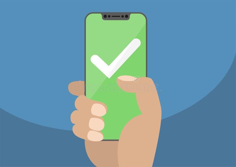 Weißes Prüfzeichen auf grünem mit Berührungseingabe Bildschirm Hand, die Einfassung freier/frameless Smartphone hält Bewegliches  stock abbildung