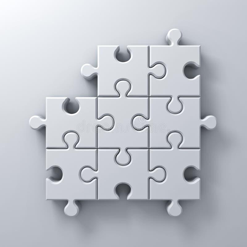 Weißes Puzzle bessert ein fehlendes Konzept auf weißem Wandhintergrund mit Schatten 3D übertragen aus stock abbildung