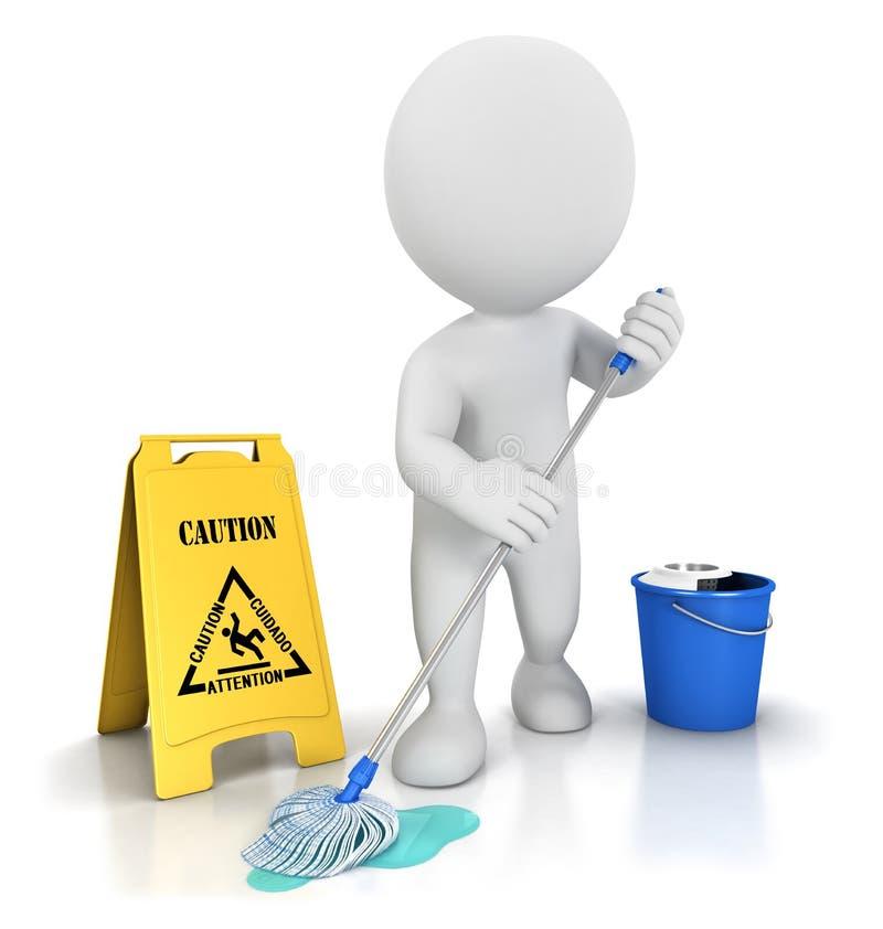 weißes Reinigungsmittel der Leute 3d lizenzfreie abbildung