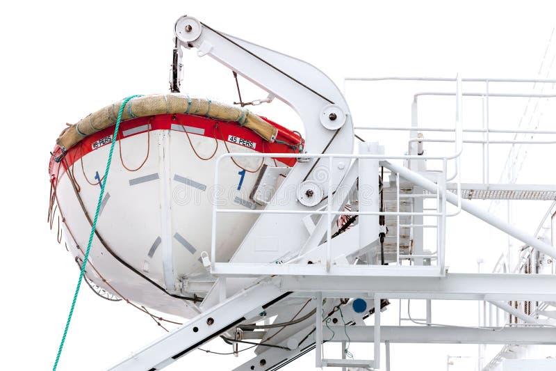 Weißes Rettungsboot auf Fluggastfähre stockbilder