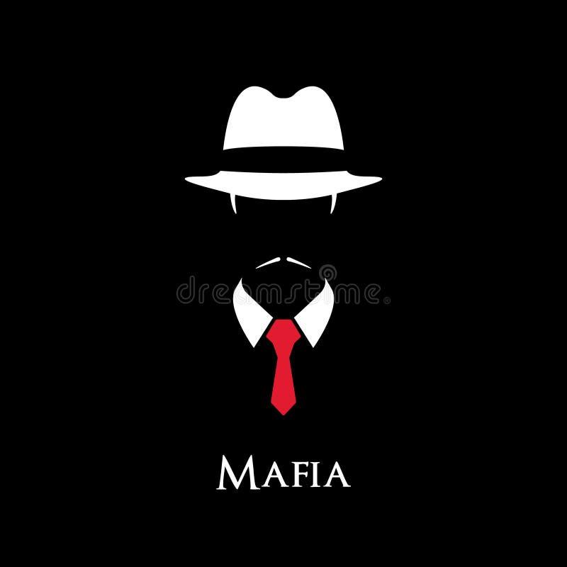 Weißes Schattenbild einer italienischen Mafia lizenzfreie abbildung