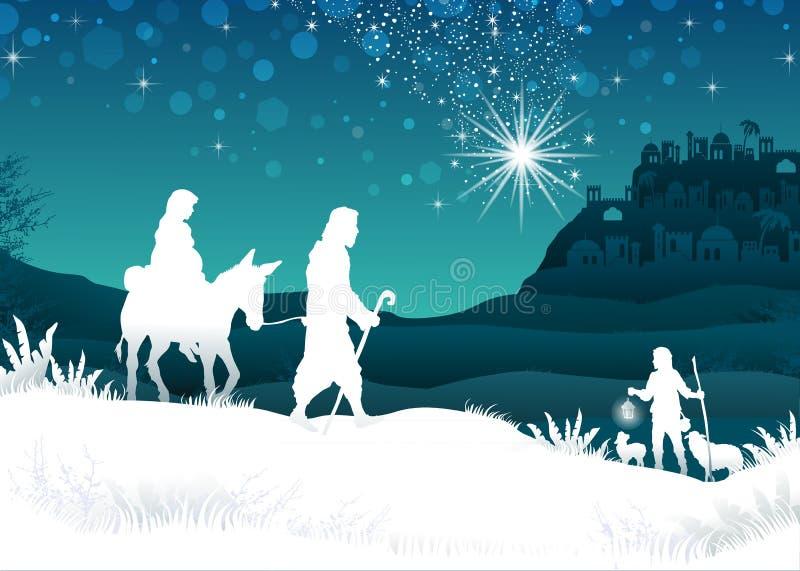 Weißes Schattenbild Mary und Joseph lizenzfreie stockfotos