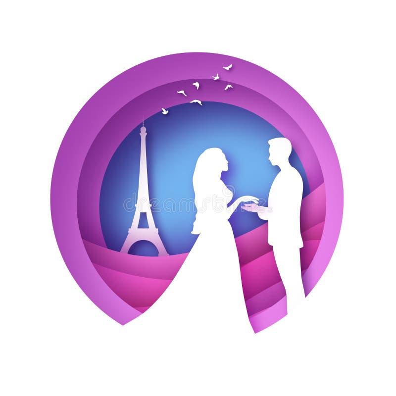 Weißes Schattenbild von romantischen Liebhabern mit Eiffelturm in der Paris-Papierschnittart Liebe Origamipaare Rote Rose lizenzfreie abbildung