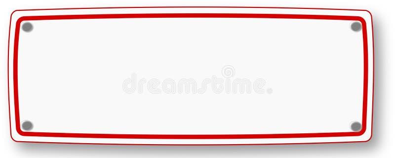 Weißes Schild mit rotem Rahmen vektor abbildung