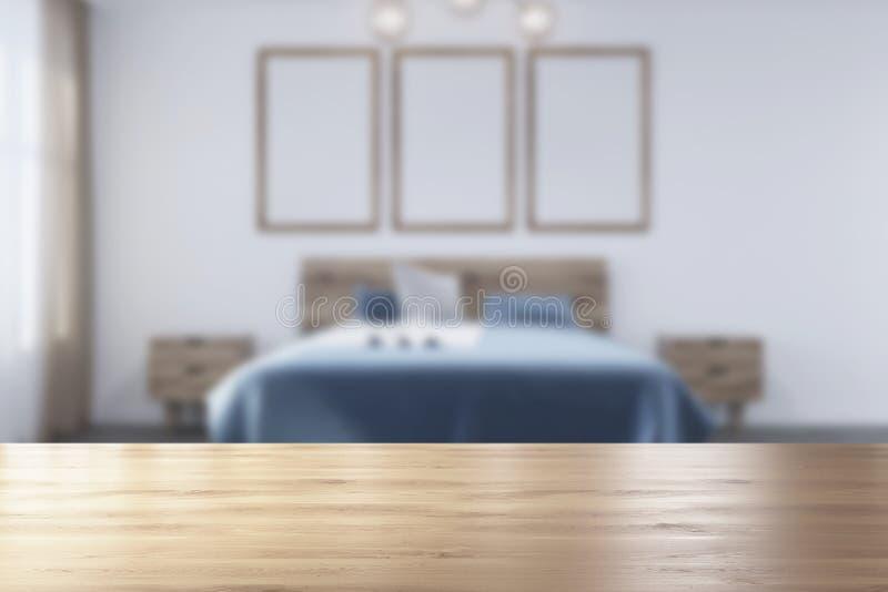 Weißes Schlafzimmer, Plakatgalerie verwischt lizenzfreie abbildung
