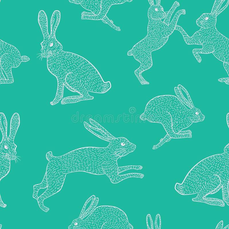 Weißes schrulliges Häschenwiederholungsmuster auf einfachem grünem/blauem Hintergrund lizenzfreie stockfotos