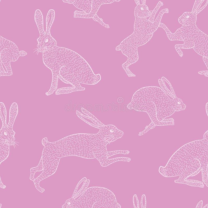 Weißes schrulliges Kaninchen auf rosa einfachem Hintergrundmuster lizenzfreie stockbilder