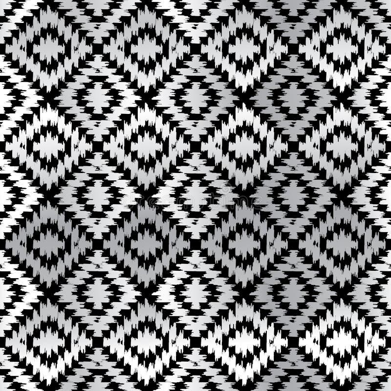 Weißes schwarzes graues Silber des nahtlosen Teppichs des Musters türkischen Patchworkmosaikorientale-kilim Wolldecke mit traditi lizenzfreie abbildung