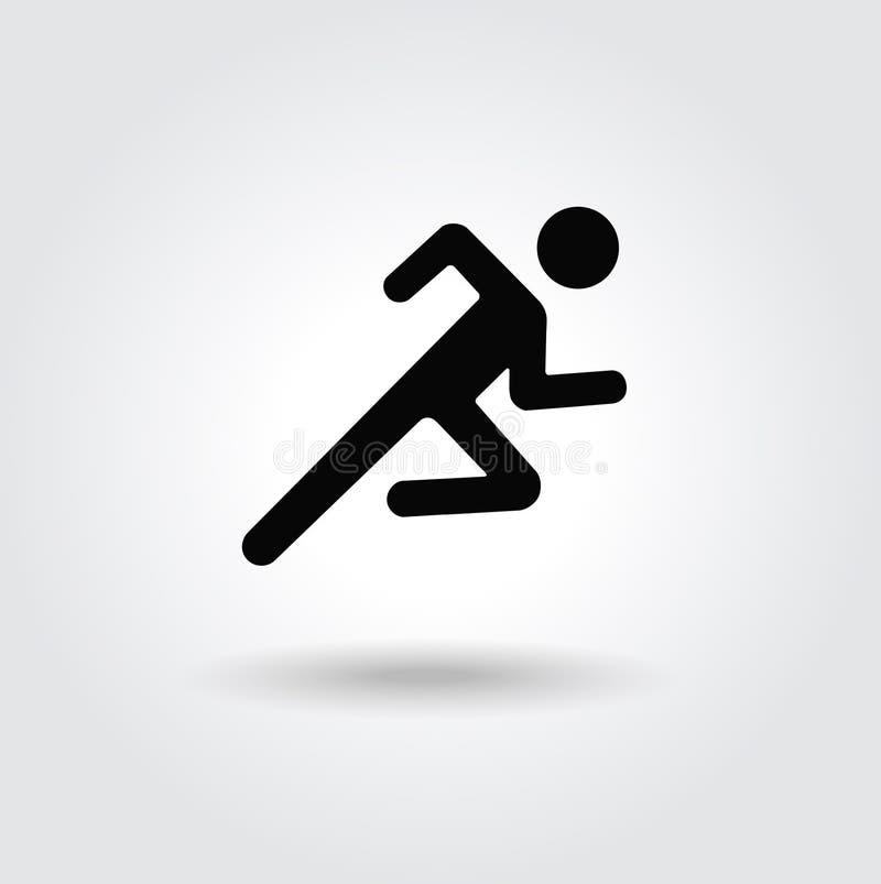 Weißes schwarzes Schattenbild der laufenden Mannikone stock abbildung