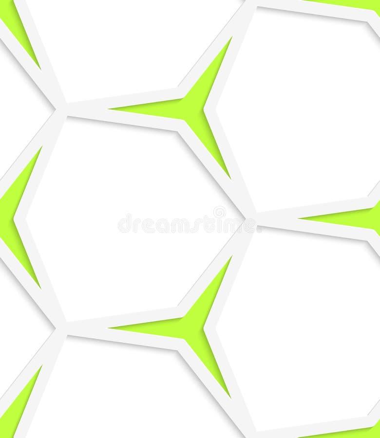 Weißes sechseckiges nahtloses Muster der Netz- und Grünsterne lizenzfreie abbildung