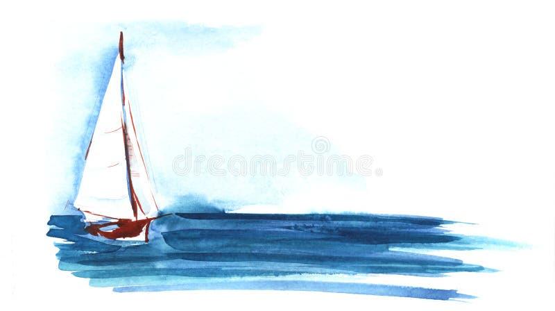 Weißes Segelboot mit einem blauen Meer des dreieckigen Segels Von Hand gezeichnete Aquarellskizzenillustration lizenzfreie stockfotografie