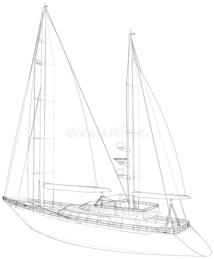 Weißes Segelboot Technischer Drahtrahmen Vektorrendering von 3d stock abbildung