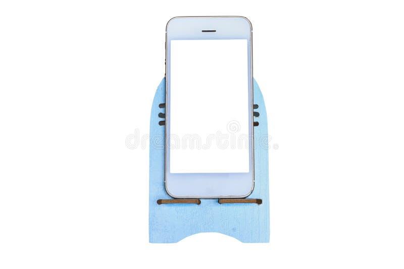 Weißes smarthphone, das auf einem weißen Hintergrund lokalisierte lizenzfreie abbildung