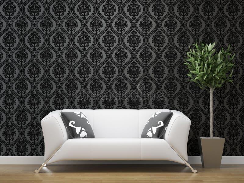 Weißes Sofa auf Schwarzem und Silber stock abbildung