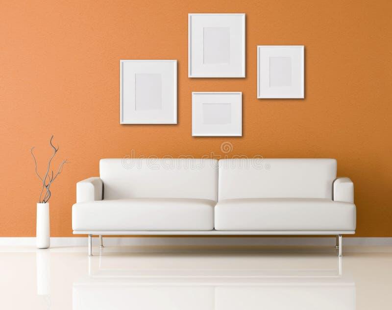 Weißes Sofa in einem orange Wohnzimmer vektor abbildung