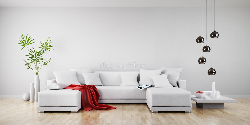 Weißes Sofa in einem sonnigen Wohnzimmer lizenzfreie abbildung