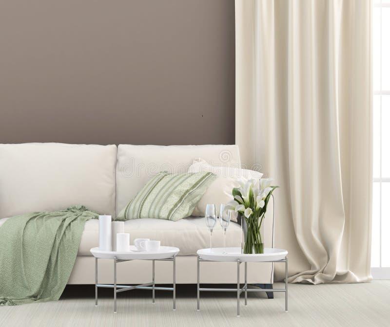 Weißes Sofa und grüne Details lizenzfreies stockfoto