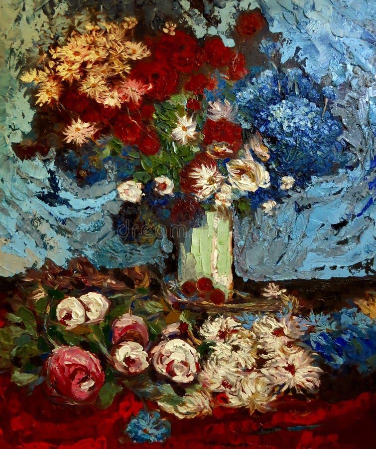 Weißes Sonnenblumenölgemälde der roten Gartennelke lizenzfreie abbildung