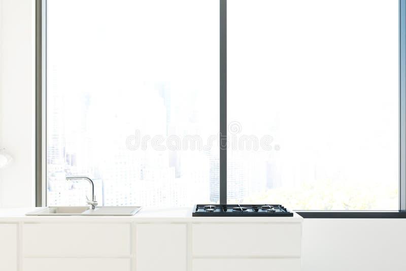 Weißes Spülbecken und ein Kocher stock abbildung