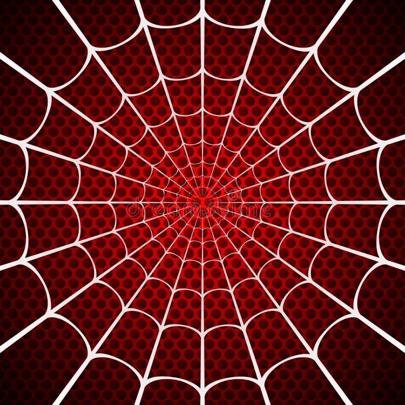 Weißes Spinnennetz auf rotem Hintergrund vektor abbildung