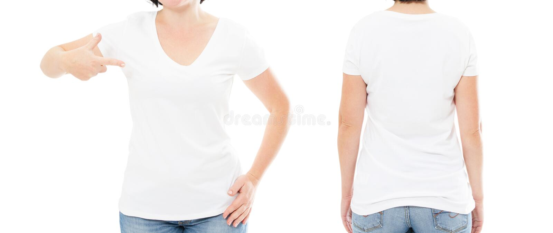 Weißes T-Shirt der Frau auf weißem Hintergrund, T-Shirt Satz stockfotos