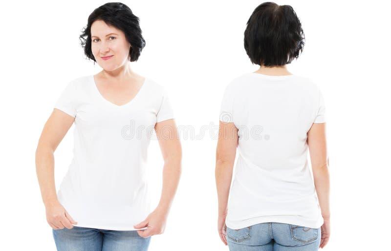 Weißes T-Shirt stellte, Frau in Art T-Shirt ein, das oben auf weißem Hintergrund, T-Shirt Spott, leeres Hemd lokalisiert wurde stockbild