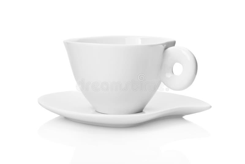 Weißes Tee Cup und Saucer stockfotos