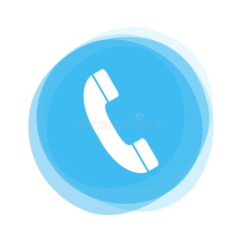 Weißes Telefon auf blauem Knopf stock abbildung