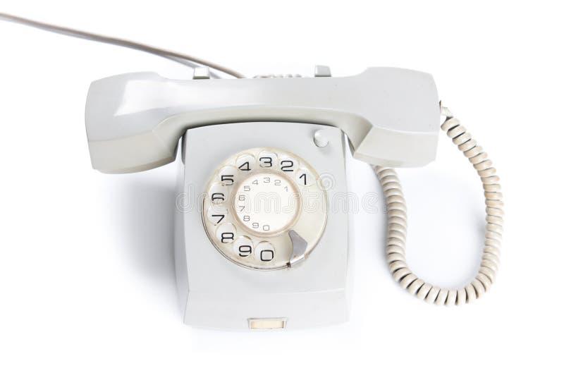 Weißes Telefon der Weinlese lokalisiert über weißem Hintergrund stockfotografie