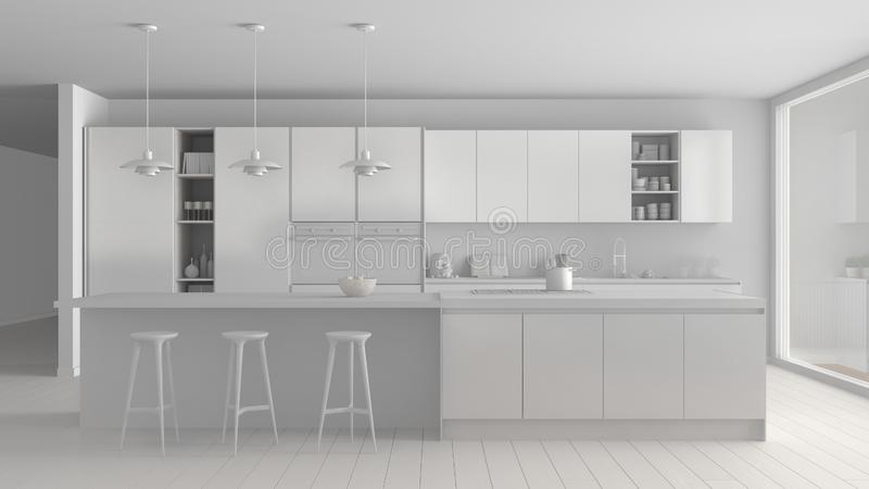 Weißes totalprojekt der modernen unbedeutenden Küche mit Insel und großem panoramischem Fenster, Parkett, hängende Lampen, zeitge lizenzfreie abbildung