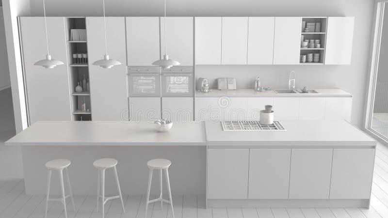 Weißes totalprojekt der modernen unbedeutenden Küche mit Insel und großem panoramischem Fenster, Parkett, hängende Lampen, Zeitge stock abbildung