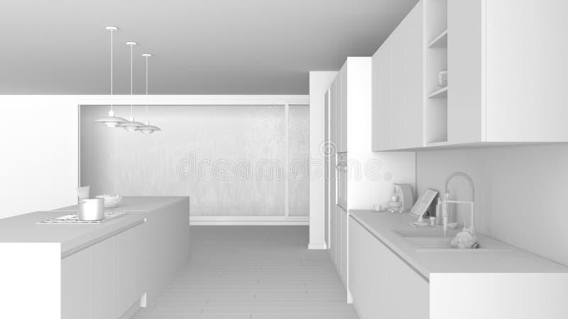 Weißes totalprojekt der modernen unbedeutenden Küche mit Insel und großem panoramischem Fenster, Parkett, hängende Lampen, zeitge vektor abbildung