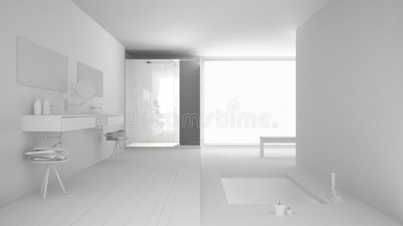 Weißes totalprojekt des unbedeutenden Badezimmers mit Bad vektor abbildung