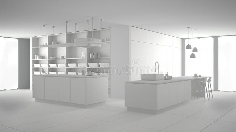 Weißes totalprojekt, ohne Materialien, des unbedeutenden teuren Küchen-, Insel-, Wannen- und Gasluxusgewindebohrers, offener Raum lizenzfreie abbildung