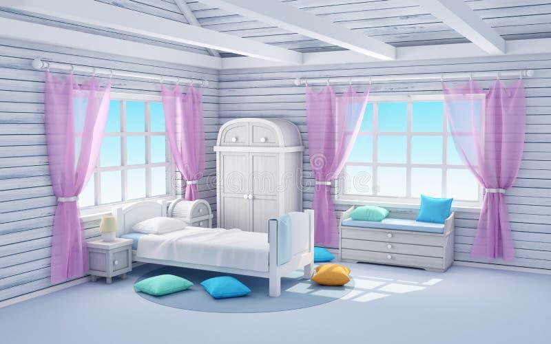 Weißes Traumschlafzimmer lizenzfreie abbildung