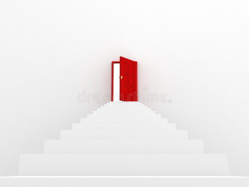 Weißes Treppenhaus, zum der roten Tür zu öffnen lizenzfreie abbildung