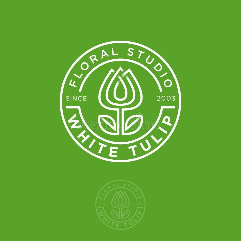 Weißes Tulpenlogo Blumenstudioemblem Schönes lineares Logo, in Form einer Tulpe mit Buchstaben im Kreis stock abbildung