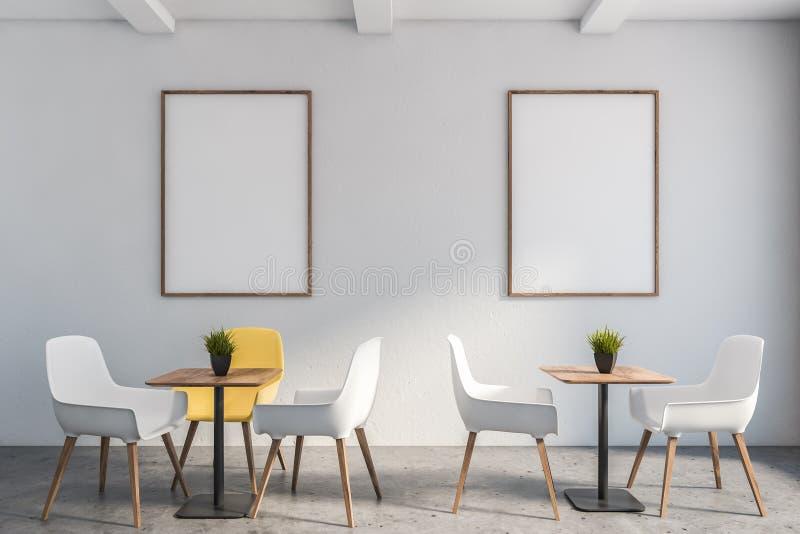 Weißes unbedeutendes Café Innen mit Plakat vektor abbildung