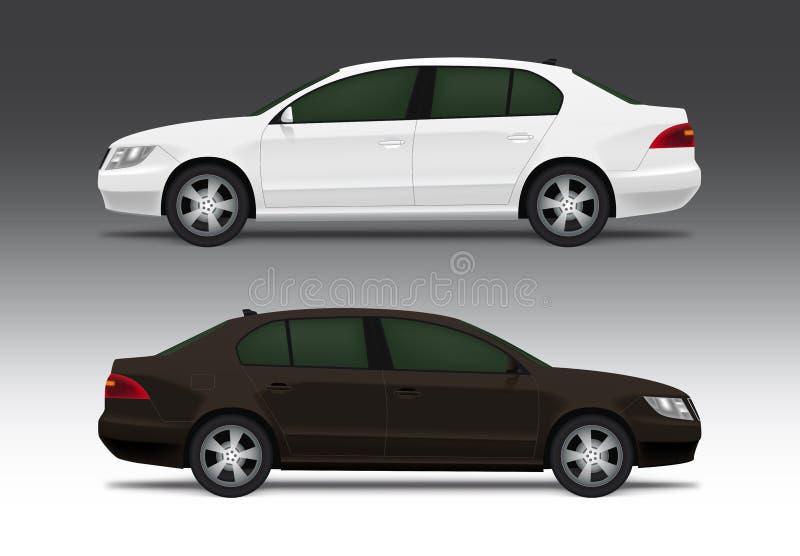Weißes und braunes Limousineauto vektor abbildung