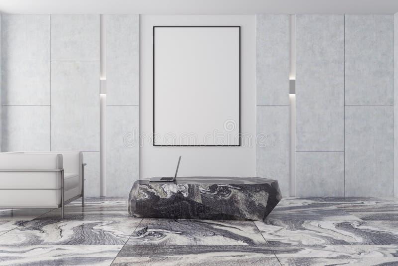 Weißes und braunes Wohnzimmer, grauer Marmor, Plakat stock abbildung