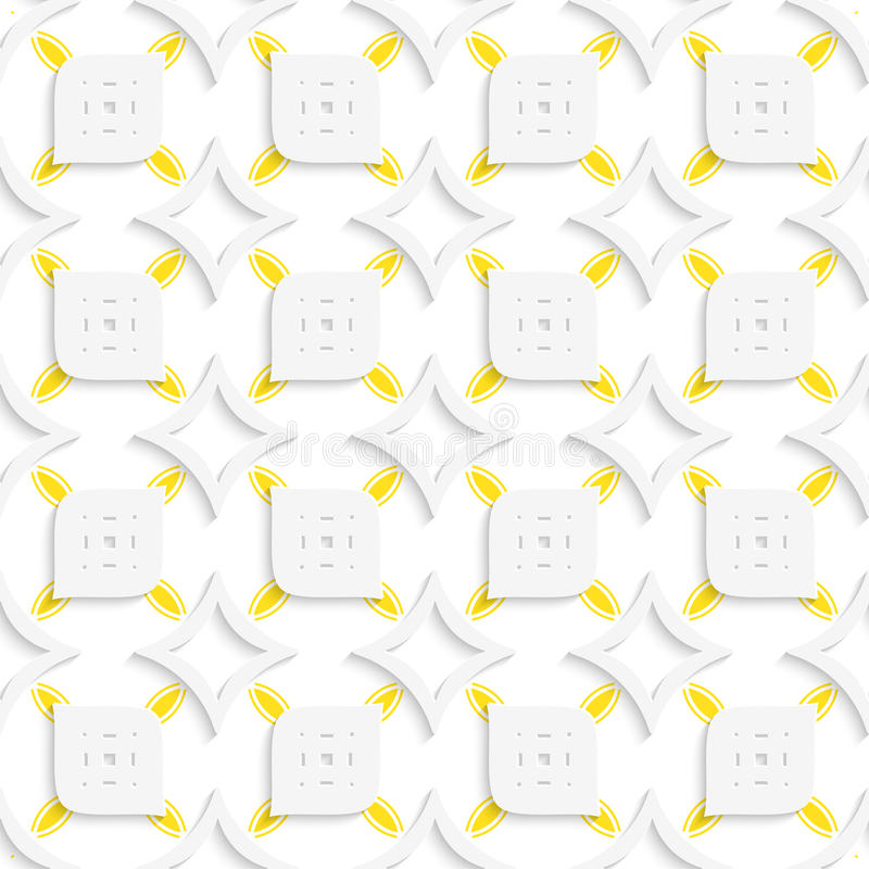 Weißes und gelbes geometrisches perforiertes Blatt- und Rautenmeer lizenzfreie abbildung